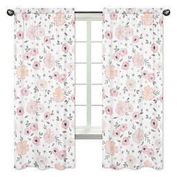Sweet Jojo Designs® Watercolor Floral 84-Inch Window Panels (Set of 2)