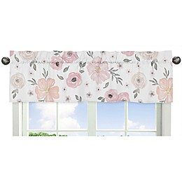 Sweet Jojo Designs® Watercolor Floral Window Valance in Pink/Grey