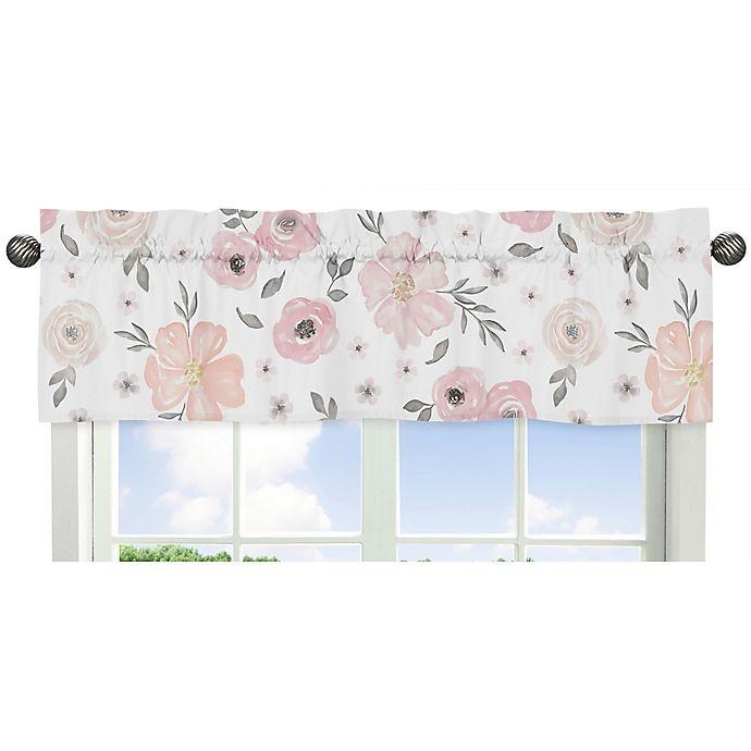 Alternate image 1 for Sweet Jojo Designs® Watercolor Floral Window Valance in Pink/Grey