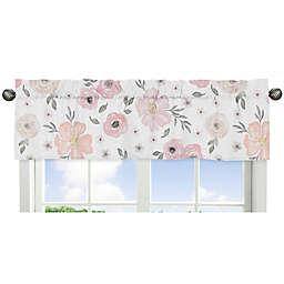 Sweet Jojo Designs Watercolor Floral Window Valance in Pink/Grey