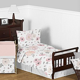 Sweet Jojo Designs Watercolor Floral Toddler Bedding Collection in Pink/Grey