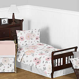 Sweet Jojo Designs Watercolor Fl 5 Piece Toddler Bedding Set In Pink Grey