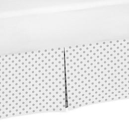 Sweet Jojo Designs Watercolor Floral Polka Dot Toddler Bed Skirt in in Grey/White