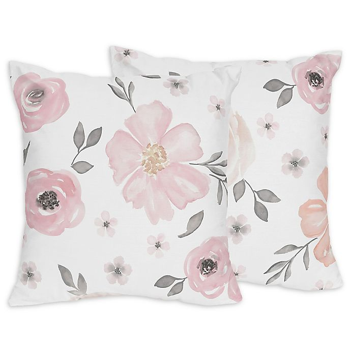 Pleasing Sweet Jojo Designs Watercolor Floral Throw Pillows In Pink Squirreltailoven Fun Painted Chair Ideas Images Squirreltailovenorg
