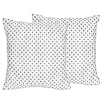 Sweet Jojo Designs Watercolor Floral Polka Dot Throw Pillows in Grey/White (Set of 2)