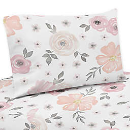 Sweet Jojo Designs Watercolor Floral Sheet Set in Pink/Grey