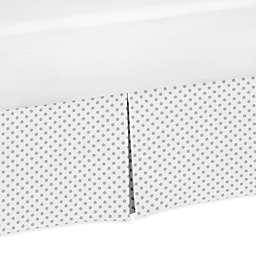 Sweet Jojo Designs® Watercolor Floral Polka Dot Bed Skirt in Grey/White