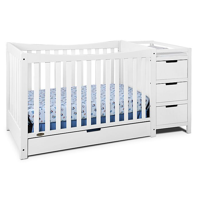 Alternate image 1 for Graco® Remi 4-in-1 Convertible Crib and Changer in White