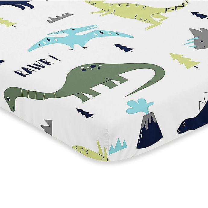 Alternate image 1 for Sweet Jojo Designs Mod Dinosaur Fitted Mini-Crib Sheet