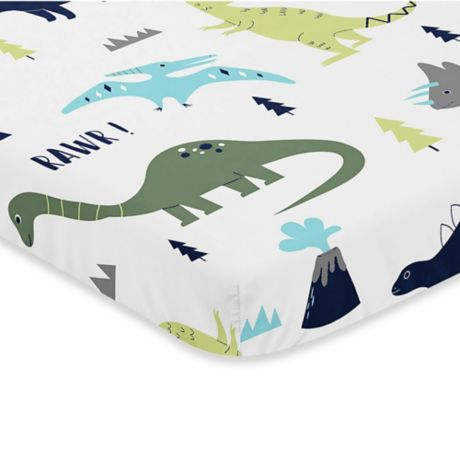 Sweet Jojo Designs Mod Dinosaur Fitted Mini Crib Sheet