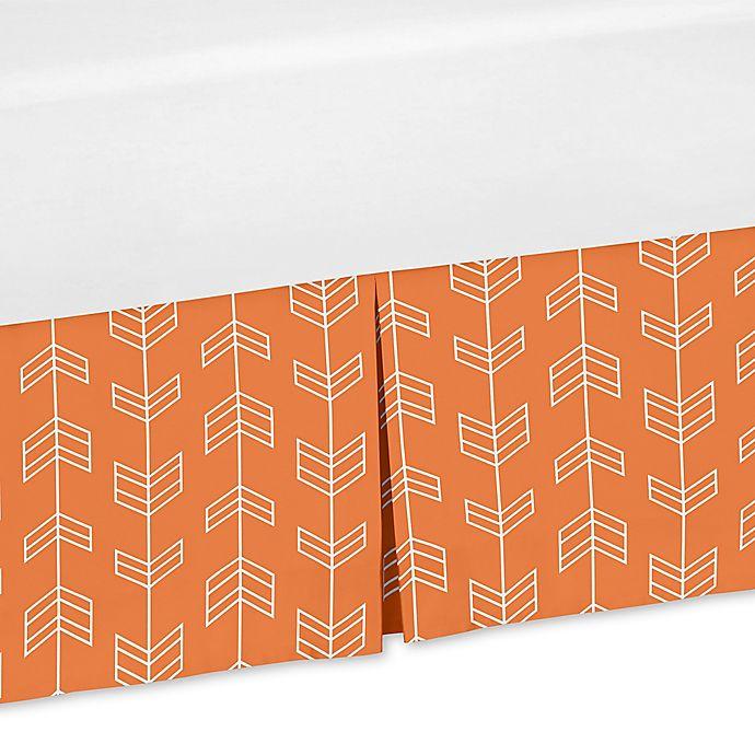 Alternate image 1 for Sweet Jojo Designs Arrow Print Crib Skirt in Orange/White