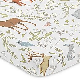Sweet Jojo Designs Woodland Toile Fitted Mini-Crib Sheet