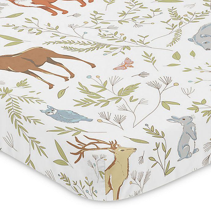 Alternate image 1 for Sweet Jojo Designs Woodland Toile Fitted Mini-Crib Sheet