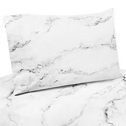 Sweet Jojo Designs Marble Sheet Set in Black/White