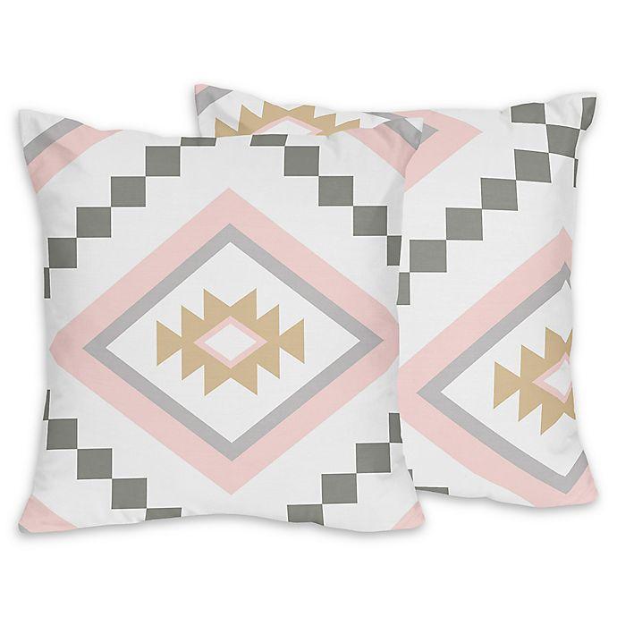 Alternate image 1 for Sweet Jojo Designs Aztec Throw Pillows in Pink/Grey (Set of 2)