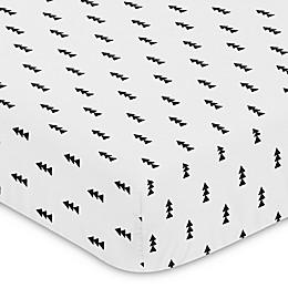 Sweet Jojo Designs Bear Mountain Triangle Tree Print Fitted Crib Sheet in Black/White
