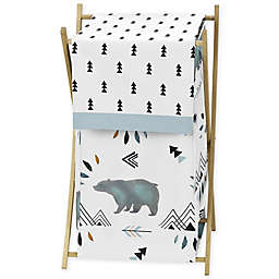 Sweet Jojo Designs Bear Mountain Laundry Hamper in Blue/Black