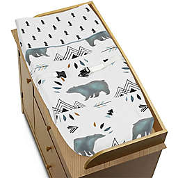 Sweet Jojo Designs Bear Mountain Changing Pad Cover in Blue/Black