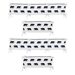Sweet Jojo Designs Big Bear 4-Piece Crib Bumper in Navy