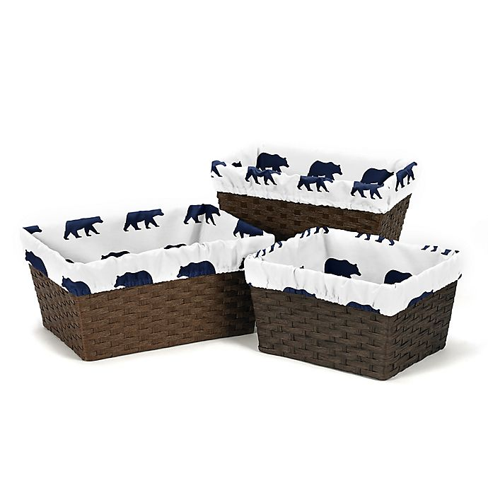 Alternate image 1 for Sweet Jojo Designs Big Bear Basket Liners in Navy (Set of 3)