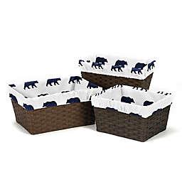 Sweet Jojo Designs Big Bear Basket Liners in Navy (Set of 3)