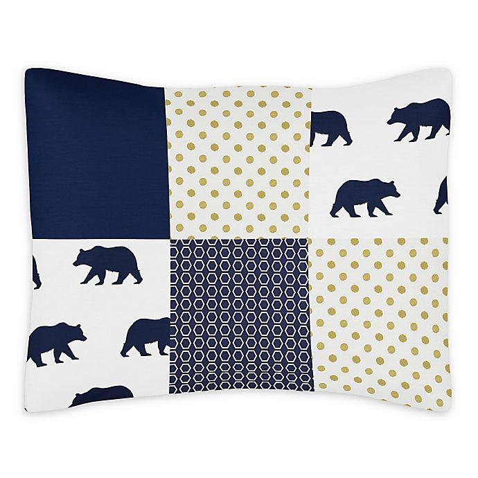 Alternate image 1 for Sweet Jojo Designs Big Bear Reversible Standard Pillow Sham in Navy/Gold
