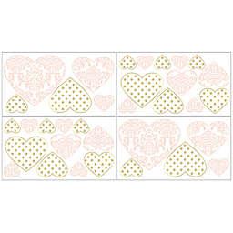 Sweet Jojo Designs Amelia Heart Wall Decal Stickers in Pink/Gold