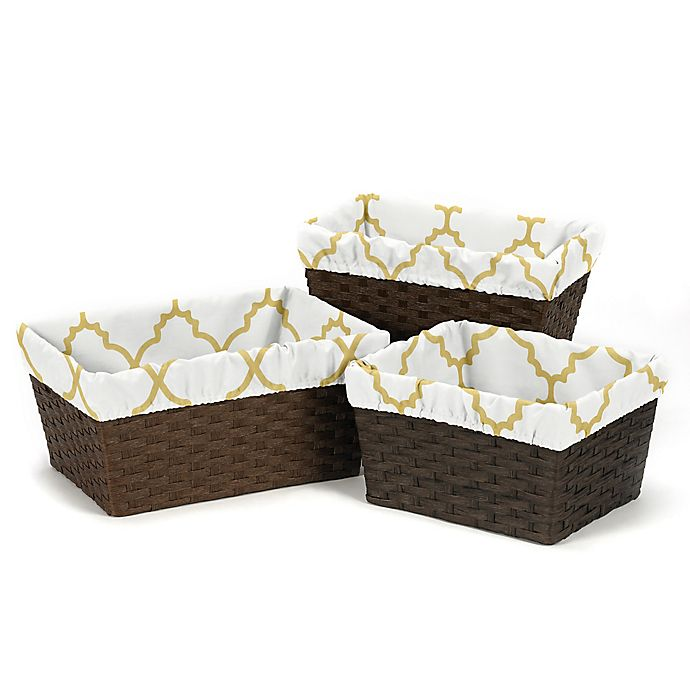 Alternate image 1 for Sweet Jojo Designs Ava Basket Liners in Gold/White (Set of 3)