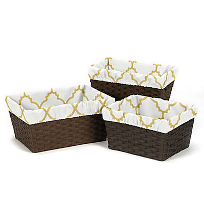 Sweet Jojo Designs Ava Basket Liners in Gold/White (Set of 3)
