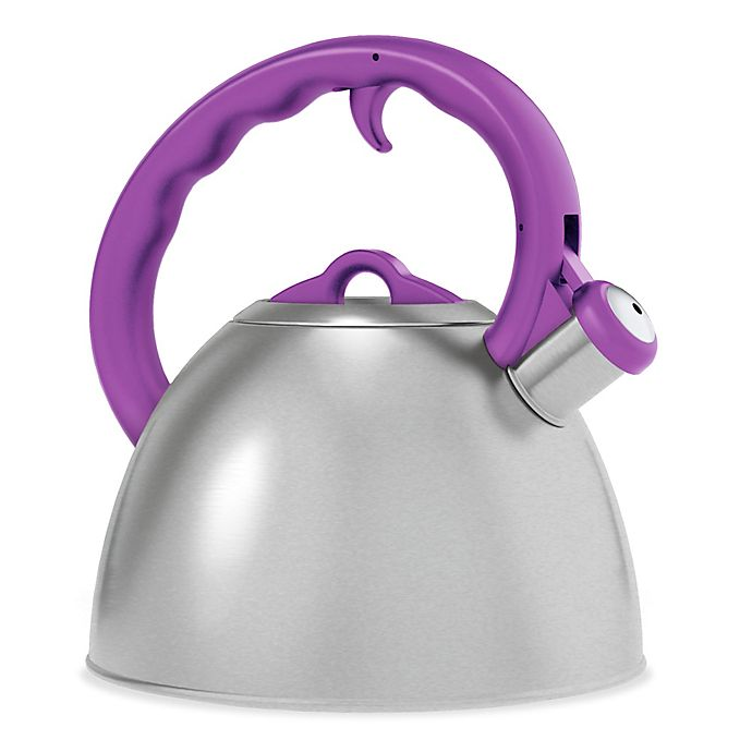 Alternate image 1 for Remedy® Metro 1.6-Quart Brushed Stainless Steel Tea Kettle with Purple Handle