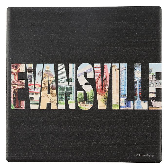 Alternate image 1 for Thirstystone® Evansville Indiana Letters Round Single Coaster