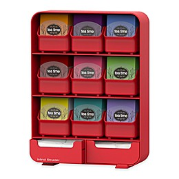 Mind Reader 9-Drawer Tea Bag and Accessory Organizer in Red