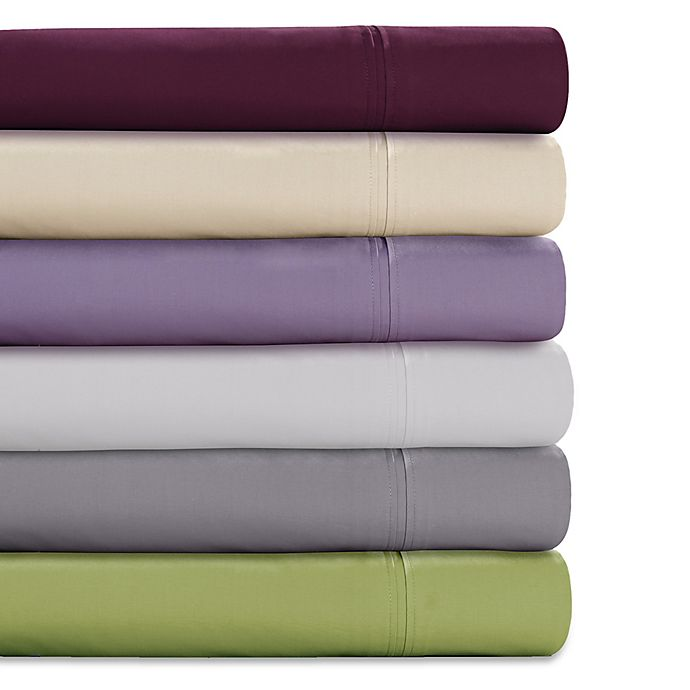 Alternate image 1 for Tribeca Living Solid Color 350-Thread Count Percale Deep-Pocket Sheet Set