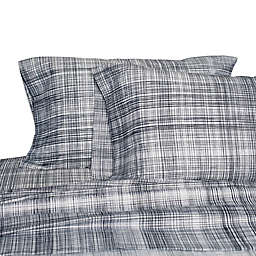 Springs Home Plaid 220-Thread-Count Sheet Set in Navy