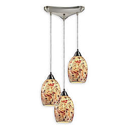 ELK Lighting 3-Light Avalon Cluster Pendant Light in Satin Nickel/Red