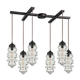 ELK Lighting Cipher 6-Light Pendant in Oil Rubbed Bronze with Open Bracket