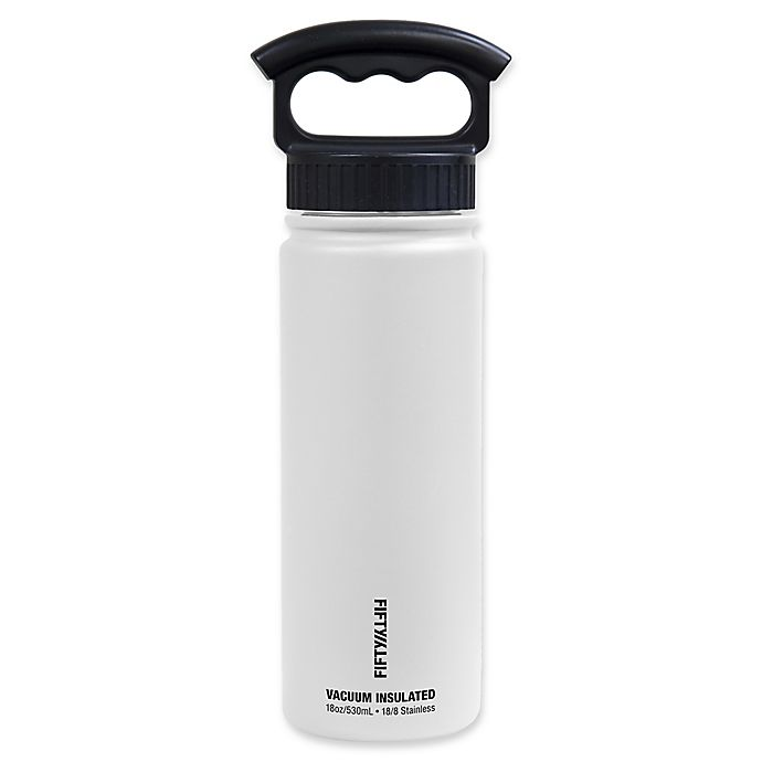 Alternate image 1 for FIFTY/FIFTY 18 oz. Vacuum-Insulated Water Bottle with 3-Finger Grip Lid in Winter White