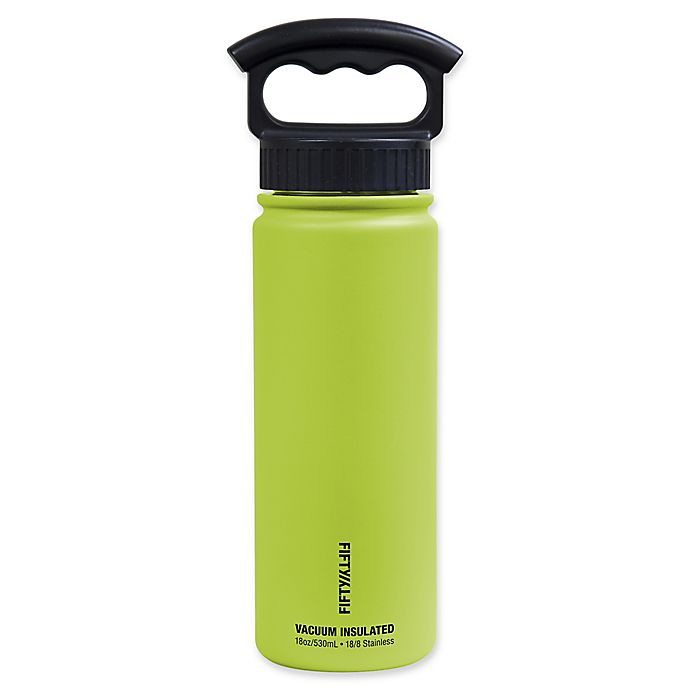 Alternate image 1 for FIFTY/FIFTY 18 oz. Vacuum-Insulated Water Bottle with 3-Finger Grip Lid in Lime Green