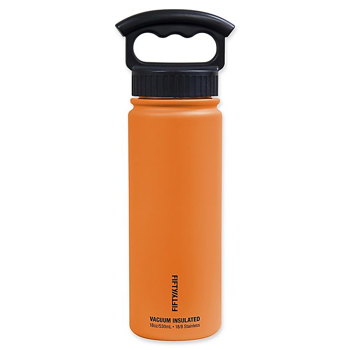 Alternate image 1 for FIFTY/FIFTY 18 oz. Vacuum-Insulated Water Bottle with 3-Finger Grip Lid in Orange