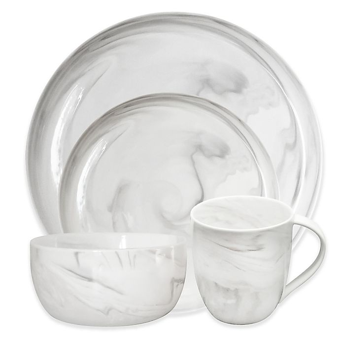 Alternate image 1 for Artisanal Kitchen Supply® Coupe Marbleized Dinnerware Collection in Grey