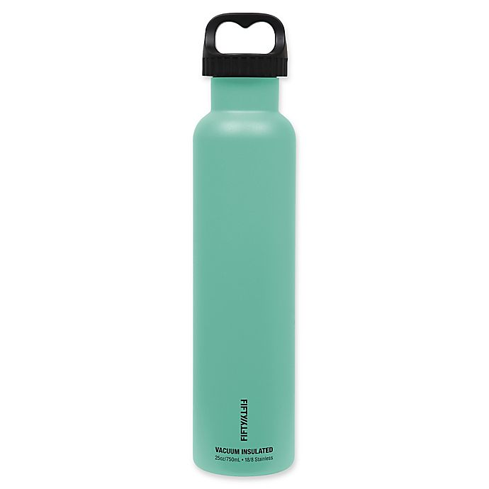 Alternate image 1 for FIFTY/FIFTY 25 oz. Vacuum-Insulated 2-Finger Lid Water Bottle in Aqua