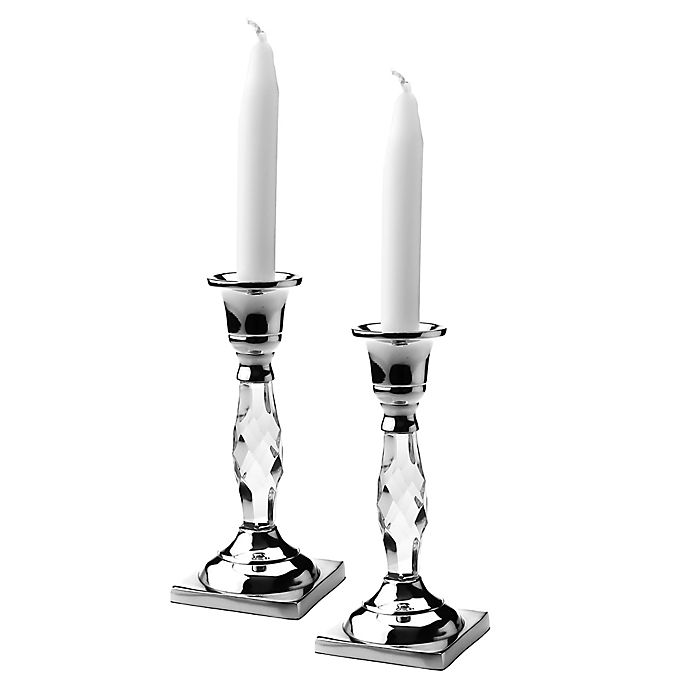 Alternate image 1 for Classic Touch Relic Candle Holders in Silver (Set of 2)