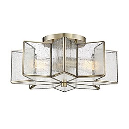 Filament Design 2-Light Semi-Flush Mount Ceiling Fixture in Natural Brass