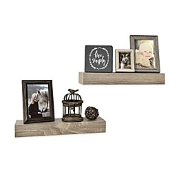 Wall Solutions 2-Piece 15-Inch Rustic Wood Ledge Set in Rustic Grey