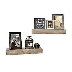 Wall Solutions 2-Piece 15-Inch Rustic Wood Ledge Set