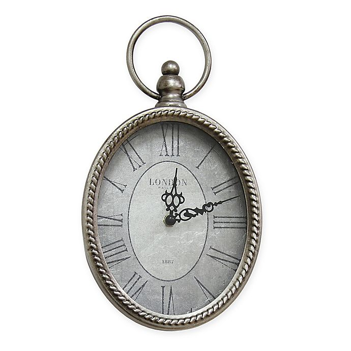 Alternate image 1 for Stratton Home Décor 11.75-Inch Small Antique Oval Wall Clock in Silver