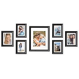 Gallery 7 Photo Hanging Frame Set In Satin Black