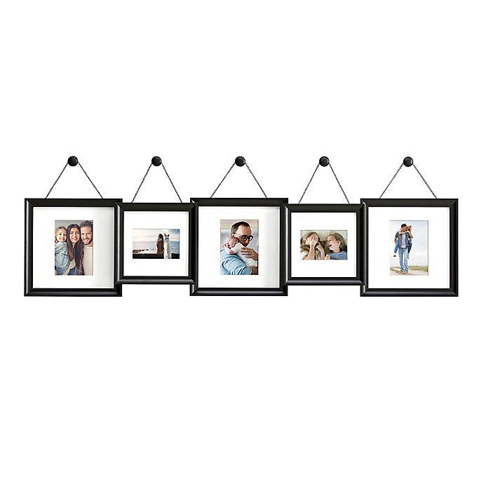 Gallery 5 Photo Hanging Finial Frame Set In Satin Black