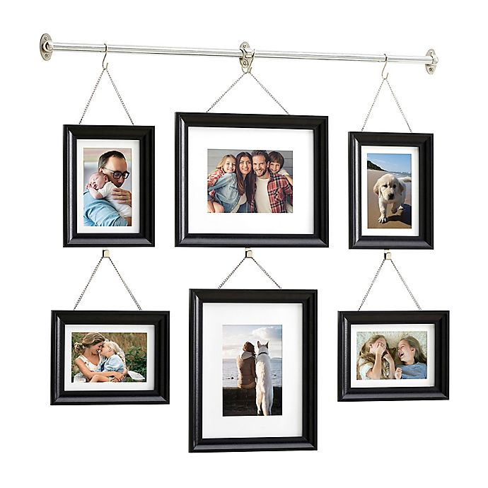 Gallery 6 Photo Hanging Bar Frame Set In Satin Black