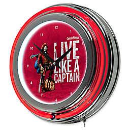 Captain Morgan® Double Ring Neon Wall Clock in Chrome